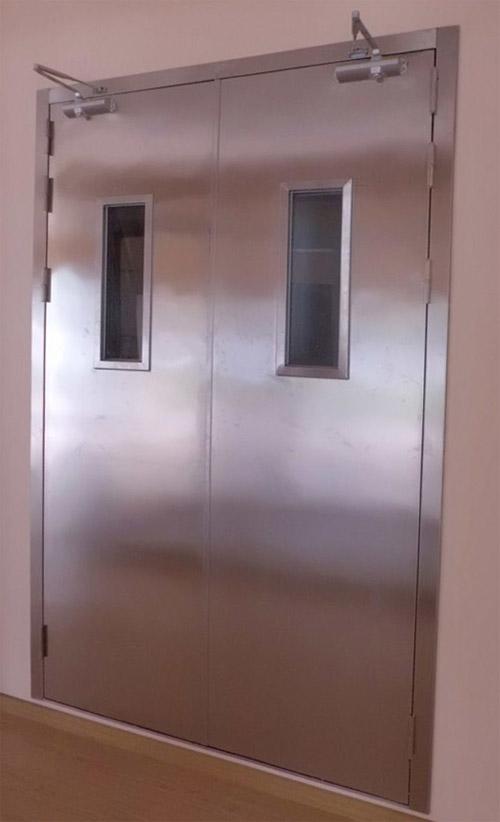 广东不锈钢防火门厂生产不锈钢甲级双开防火门带视口玻璃有检测报告销售湖南